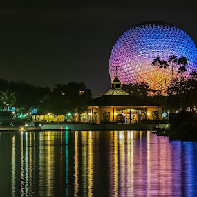 The Colors of Epcot by Lynn Wiezycki - Buildings & Architecture Other Exteriors ( relections, sphere, epcot, disney )