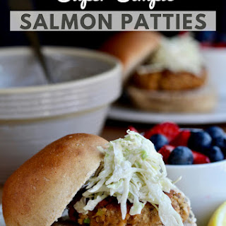 Simple Salmon Patties with Cabbage Slaw.