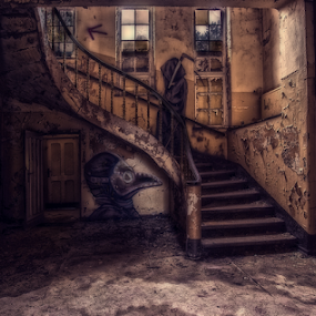 Death awaits you upstairs by Buffan Walter - Buildings & Architecture Decaying & Abandoned ( beautifuldecay, stairs, indoor, death, graffiti, sanatorie, germany, berlin, spraypaint, hospital, medic, decay, abandoned,  )
