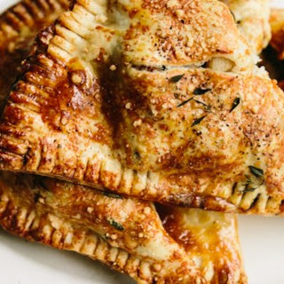 Sausage and Apple Pie in a Parmesan Thyme Crust.