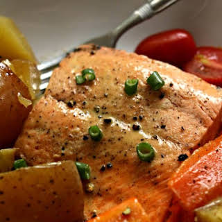 Instant Pot Lemon Butter Garlic Salmon with Homestyle Vegetables.