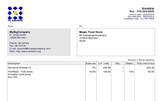 dolicloud crm - chrome web store, Invoice examples