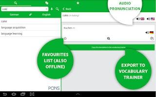 Screenshot of PONS Online Dictionary