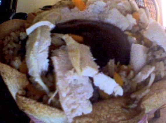 Chicken Rice, Peppers N Mushrooms Tortilla Bowl Recipe