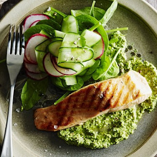 Salmon With Lime & Coriander Pesto