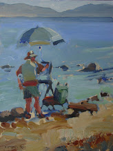 Photo: Plein Air Painter, Tahoe, oil on board by Nancy Roberts, copyright 2014.