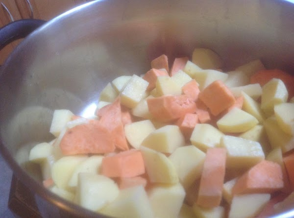 Add potatoes to a medium size pot, cover with water, cover and bring to...