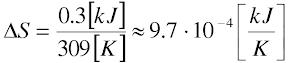 dS=9.7*10^(-4)kJ/K