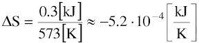 dS=-5.2*10^(-4)kJ/K