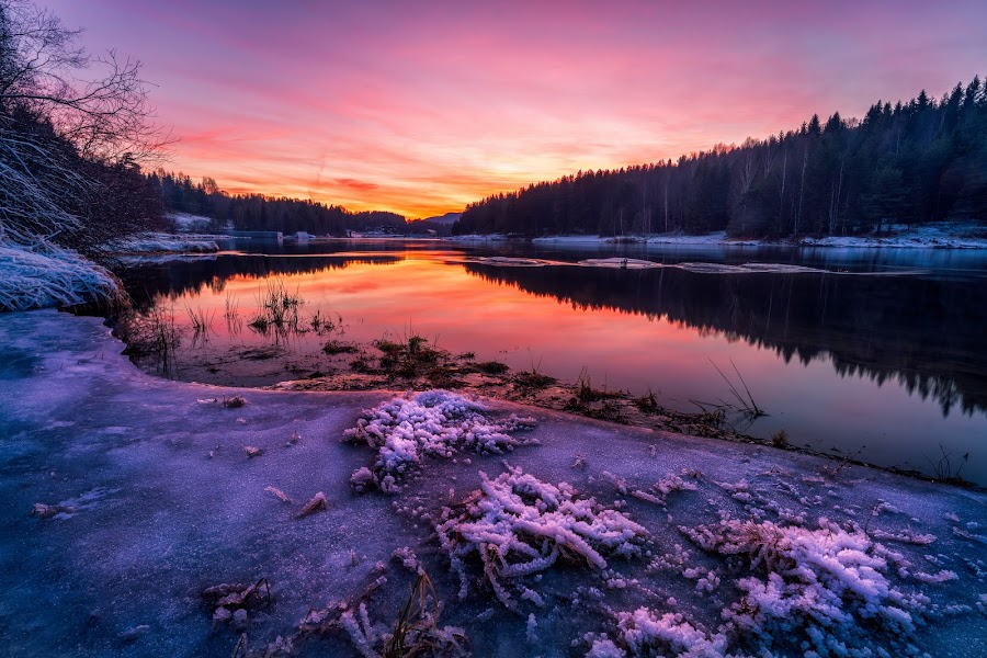 Afterglow by Walter Urnes - Landscapes Sunsets & Sunrises ( sunset, ice, frost, forest, river )