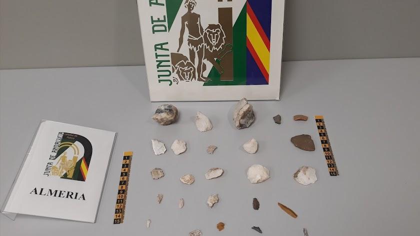 Materiales encontrados en el yacimiento.