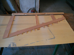 "Photo: transferring template to 1/8"" plywood"