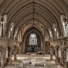 Sanctuary by Pat Eisenberger - Buildings & Architecture Places of Worship ( urban, gothic, window, church, arch, inner, graffiti, sanctuary, ruins, city, decay,  )