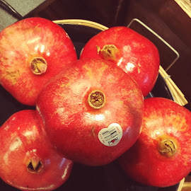 Five Pomegranates by Rita Goebert - Food & Drink Fruits & Vegetables ( produce; pomegranates, grocery store food,  )