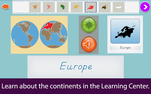 Montessori Continents & Oceans Apps for Android screenshot