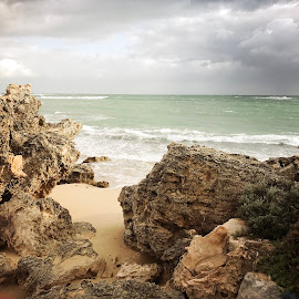 Rolling in  by Isabella Farrell Kym Matthews - Nature Up Close Rock & Stone ( waves clouds sand rocks australia storms )