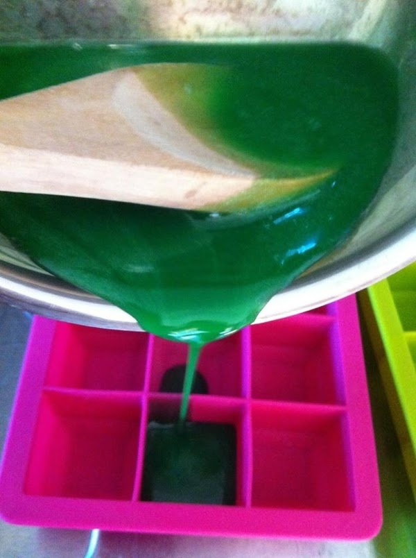 When gelatin is ready, pour into mold. (I used a silicone ice cube tray, and...