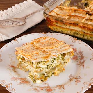 Spinach, Feta and Artichoke Matzo Mina