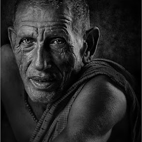 Old Look! by Subrata Kar - People Portraits of Men ( old, monochrome, portrai, black & white, man, face, people )