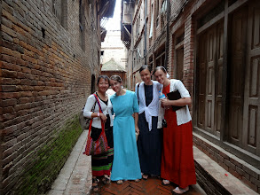 Photo: We had Marilyn, Rosa & Rachel with us to Bhaktapur. Here they are in the old city with Pastor Ishwar's wife Chandigar.