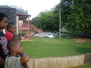 Photo: the kids looking at the back yard