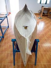 Photo: fiberglass fabric in place, prepare to epoxy