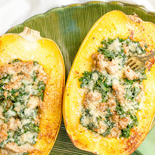 Sausage And Kale Stuffed Spaghetti Squash