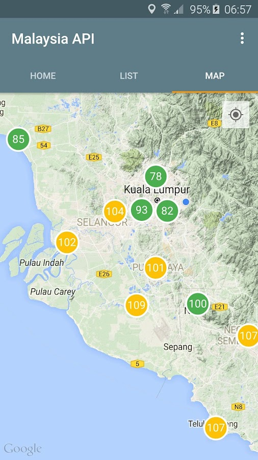 Malaysia Air Pollutant Index- screenshot