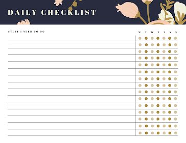 Daily Checklist Floral - Planner template