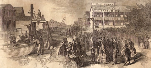Photo: Watching the Siege of Fort Macon from Beaufort waterfront - April 25, 1862 Frank Leslie's Illustrated Newspaper