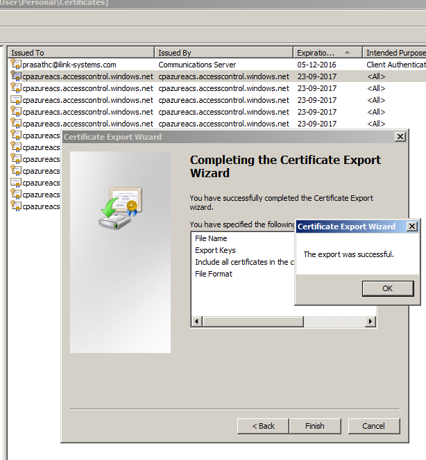 Azure ACS Export Certificates