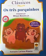Photo: Os três porquinhos - Coleção Clássicos Jacobs, Joseph  Localização: J J18t  Edição Braille e em fonte ampliada - acompanha CD com versão falada e audiodescrição -