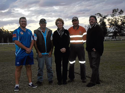 Narrabri Rugby League Football Club and Narrabri Touch Inc's Jeremy Saunders, Narrabri FC's Steve Lubke, Narrabri Touch Inc's Joan O'Neill, Crossroads Eleven FC's Leon Ryman and Narrabri District Cricket Association's Bill Wood. The five are all key figures in their respective clubs or associations, which will each benefit from the new lights.