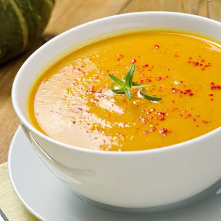 Roasted Squash and Garlic Soup with Beet Splash.