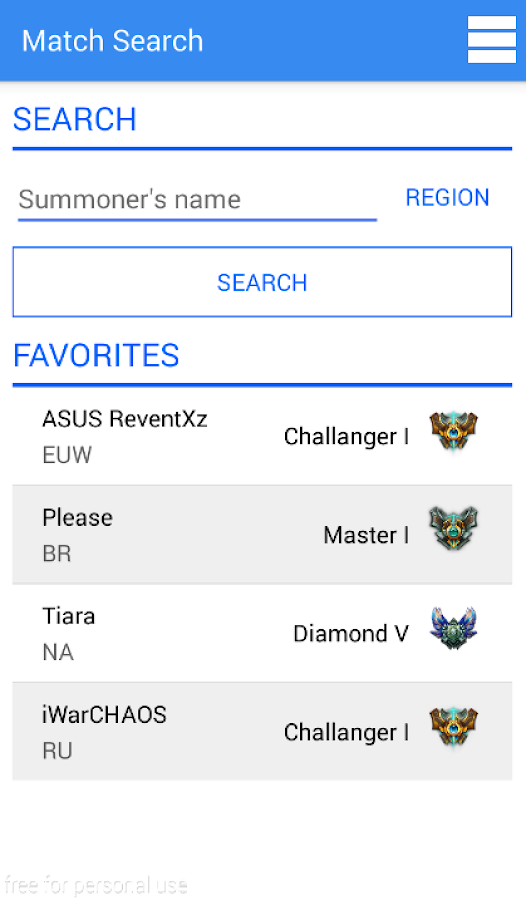 Match Search for LoL- screenshot