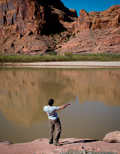 Photo: Skipping rocks into the Colorado river at the Gold Bar Campground, Moab, Utah.