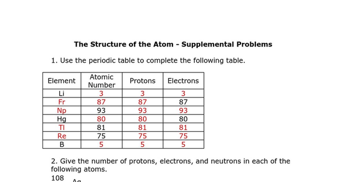 Structure of the atom supplemental problems keyc google docs urtaz Gallery
