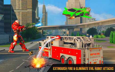 Flying Firefighter Truck Transform Robot Games 4
