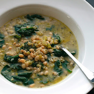 Hearty White Bean and Spinach Soup with Rosemary and Garlic.