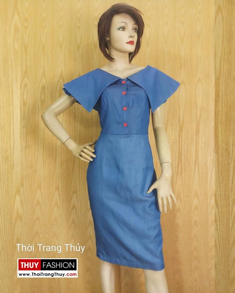Váy bút chì cổ cách điệu xòe cánh V677 thời trang thủy hà nội