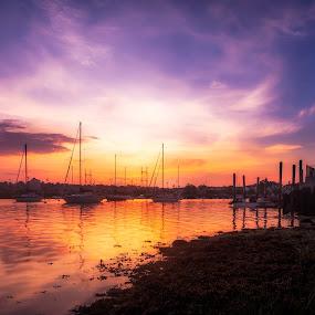Harbor Sunset  by Jeff Klein - Landscapes Sunsets & Sunrises ( water, sky, harbor, sunset, norwalk, sono, ocean )