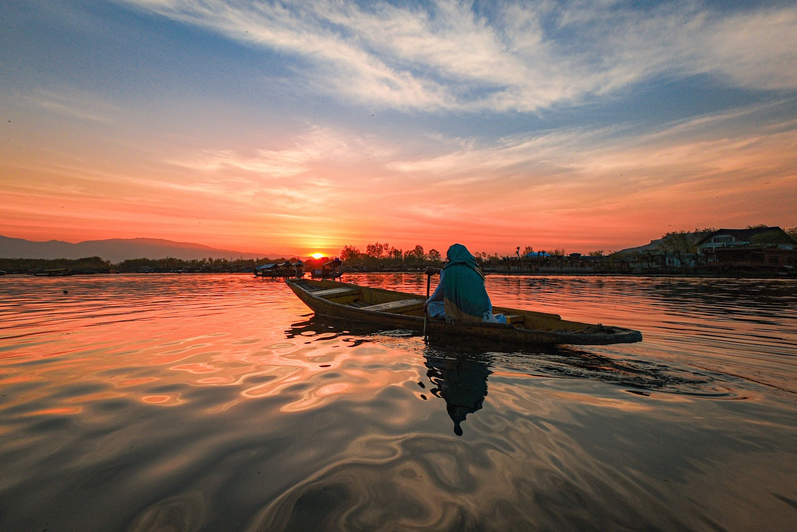 A sunset view of dal lake