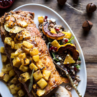 Pineapple Glazed Pork Roast with Bacon Wild Rice Stuffing. Recipe
