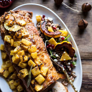 Pineapple Glazed Pork Roast with Bacon Wild Rice Stuffing..