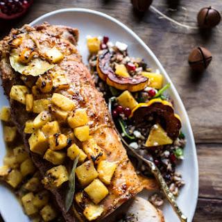 Pineapple Glazed Pork Roast with Bacon Wild Rice Stuffing..