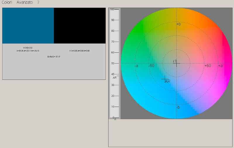 Photo: This is an early initial screenshot of a color matching program I wrote which is currently being used by an Italian company.