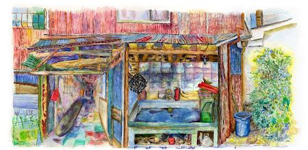 Photo: 1-T1枝川十畳長屋 qpoqp  この絵はがきはこちらこらご購入頂けます。 http://artgoods.creativesmile.info/products/list.php?category_id=77