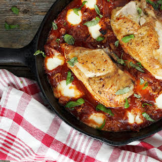 Skillet Chicken with Tomatoes, Pancetta and Bocconcini.