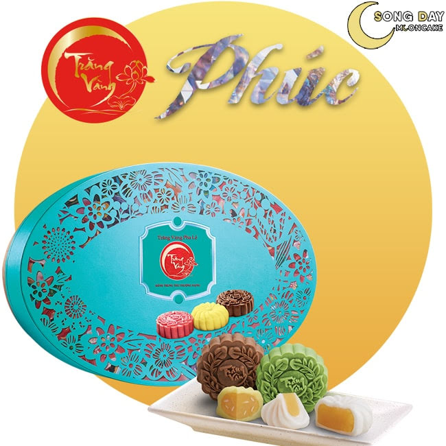 Hộp Kinh Đô trăng vàng pha lê vạn phúc xanh