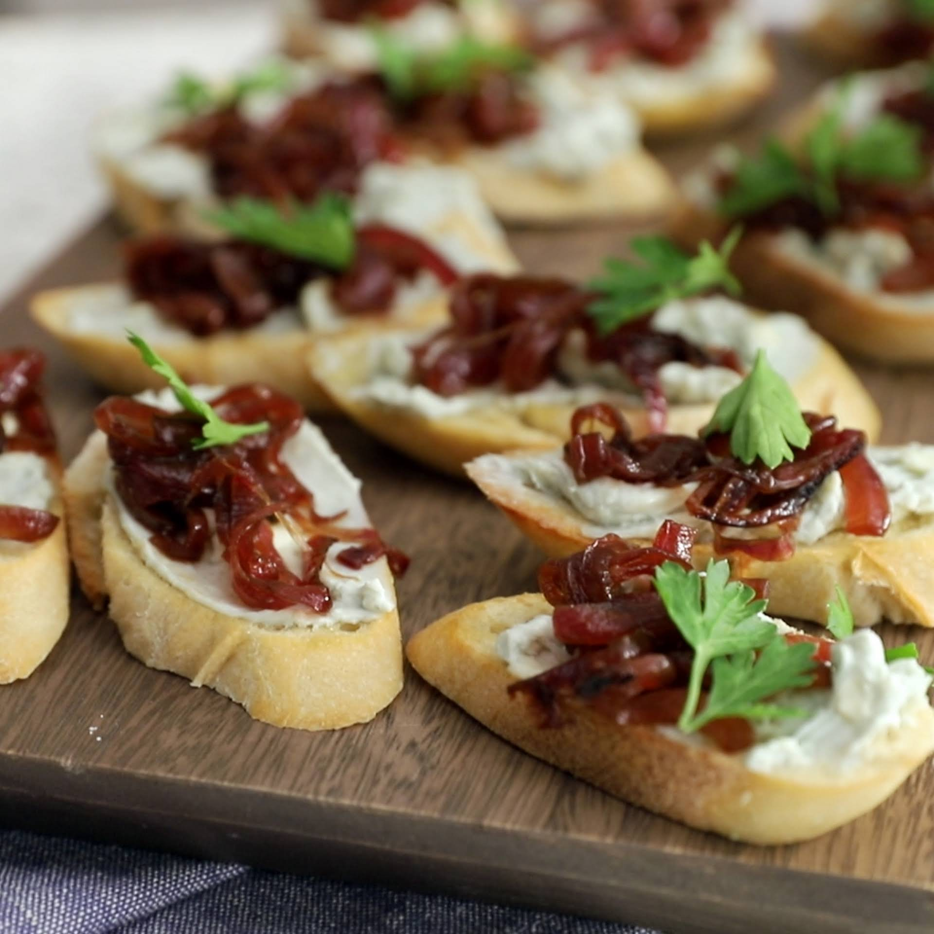 Creamy Blue Cheese and Red Onion Crostini